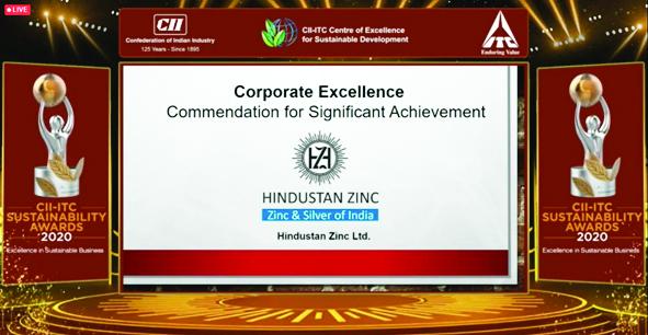 हिन्दुस्तान जिंक को सीआईआई-आईटीसी कॉर्पोरेट ऐक्सीलेंस सस्टेनेबिलिटी अवार्ड
